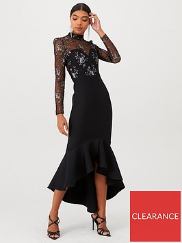 u-collection-forever-unique-long-sleeve-lace-and-bandage-mix-maxi-dress-black