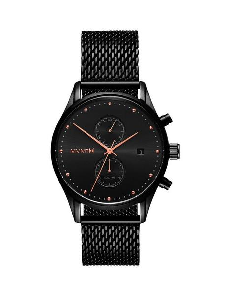 mvmt-mvmt-voyager-black-and-rose-gold-detail-chronograph-dial-black-ip-stainless-steel-mesh-strap-mens-watch