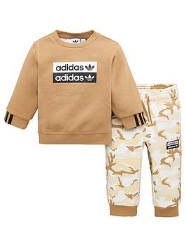 adidas-originals-infant-crew-tracksuit-brown