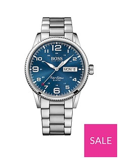a8f77e5c4 BOSS Boss Blue Sunray Date Dial Stainless Steel Bracelet Mens Watch