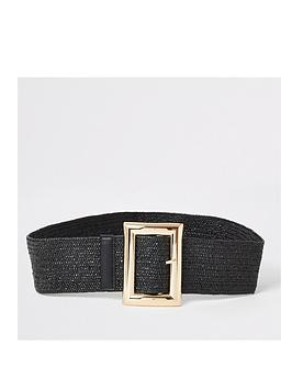 river-island-raffia-buckle-belt-black