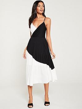 river-island-river-island-colour-block-plisse-wrap-dress--black