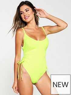 boux-avenue-ruched-tie-swimsuit-neon-yellow