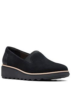 clarks-sharon-dolly-slip-on-wedge-suede-shoe-black