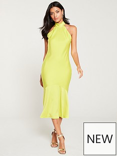 c6d21aeaefd River Island River Island Halterneck Deep Frill Dress- Yellow