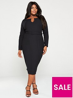 v-by-very-curve-belted-rib-midi-dress-black