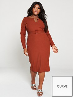 v-by-very-curve-belted-rib-midi-dress-rust