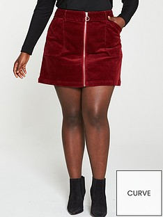 v-by-very-curve-cord-mini-skirt-burgundy