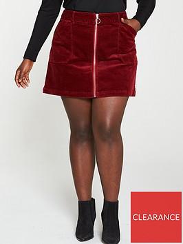 v-by-very-curve-cord-mini-skirt-burgundy