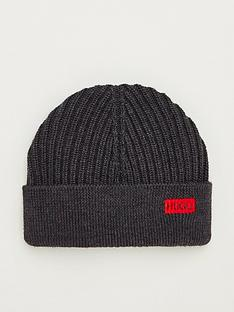 hugo-xianno-2-ribbed-beanie-hat-charcoal