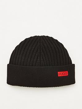 hugo-xianno-2-ribbed-beanie-hat-black