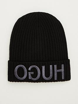 hugo-large-logo-beanie-hat-black