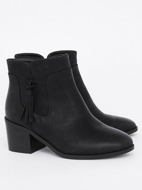 durable modeling details for new lifestyle Extra Wide Fit Tassel Ankle Boots - Black