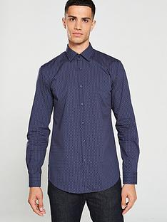 hugo-kenno-mini-print-shirt-navy