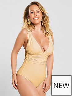 6fc4a27d4a1b8 Kate Wright Ruched Waist High Leg Swimsuit - Nude
