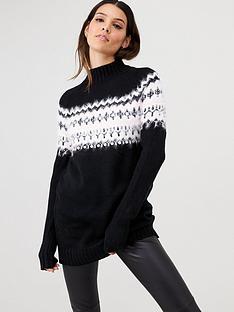 v-by-very-embellished-fairisle-jumper-black