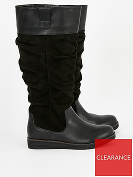 evans-evans-lilly-wide-fit-ruched-flat-high-boot