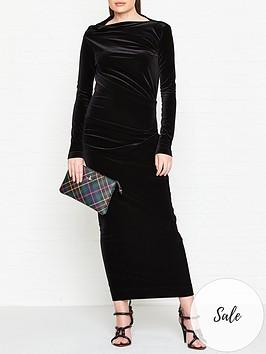 vivienne-westwood-anglomania-taxa-velvet-long-sleeve-maxi-dress-black