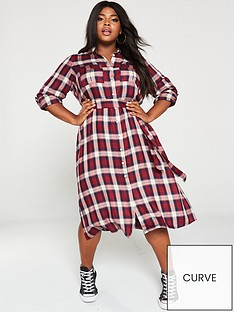 v-by-very-curve-check-midi-shirt-dress-multi