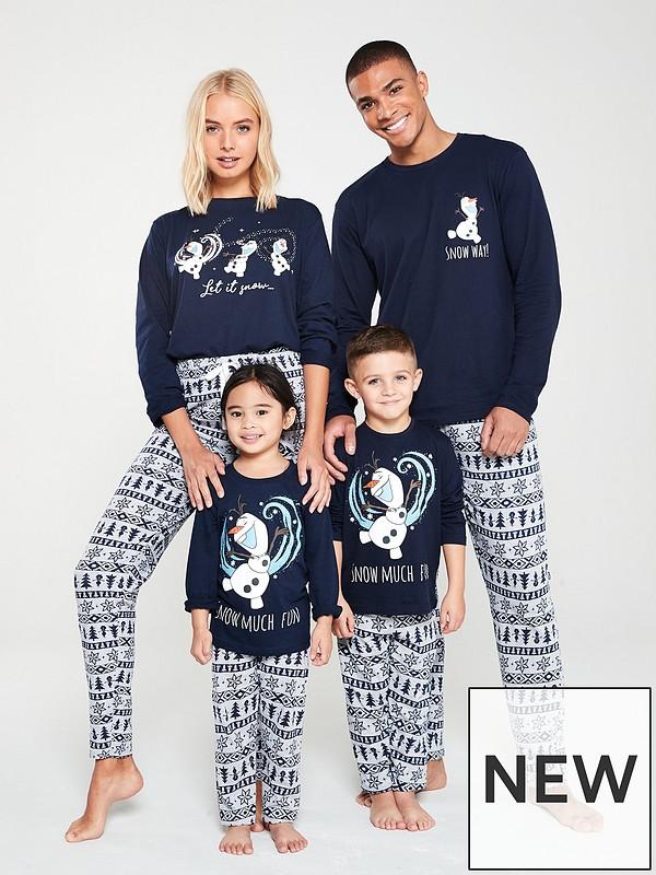 Family Christmas Pajamas 2019 Uk.Frozen Family Christmas Pjs Navy Grey