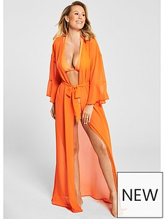 dce5eaf829 Kate Wright Chiffon Beach Maxi Kimono - Orange