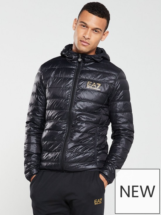 9661231945667 EA7 Emporio Armani Core ID Hooded Padded Jacket - Black   very.co.uk