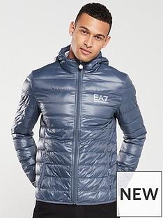 3ca5ab61 EA7 Emporio Armani Core ID Hooded Padded Jacket - Cobalt Grey   very ...