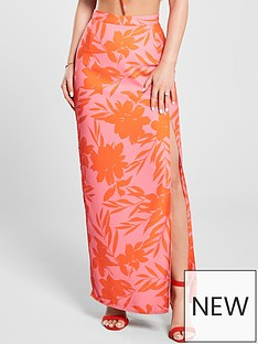 ba0af2687 Kate Wright Neon Print Side Split Maxi Skirt - Floral Print