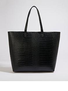 warehouse-large-croc-shopper-bag