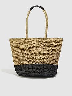 oasis-colour-block-straw-tote-bag-multi