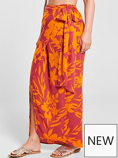 9acfb2dc5d49a0 Kate Wright Side Tie Maxi Skirt - Floral Print