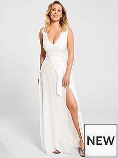 kate-wright-plunge-v-neck-maxi-beach-dress-white