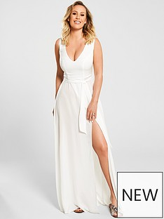 7b810bd4d6 Kate Wright Sheer Textured Beach Plunge Maxi Dress - White