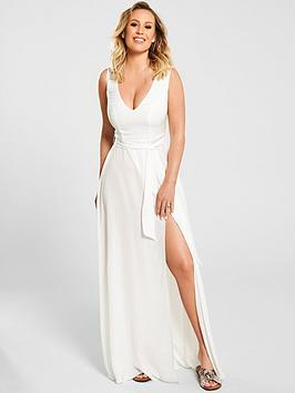 kate-wright-sheer-textured-beach-plunge-maxi-dressnbsp--white