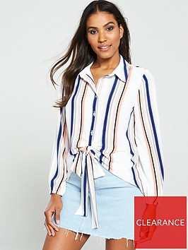 v-by-very-tie-front-longline-shirt--nbsp-stripe