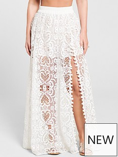 e80bafdcf548 Kate Wright Lace Side Split Maxi Skirt - White