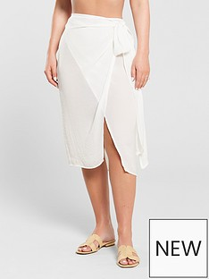 498ddc29cd Kate Wright Hammered Satin Side Tie Beach Skirt - White