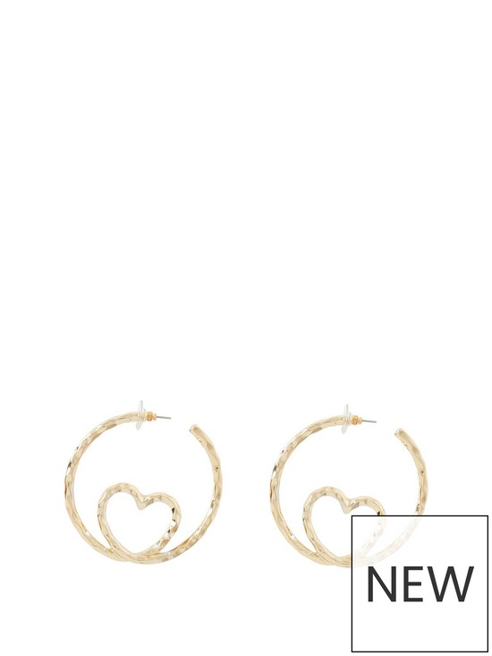 25cf82e0b ... River Island Heart Insert Hoop Earrings - Gold. 2 people have looked at  this in the last couple of hrs.