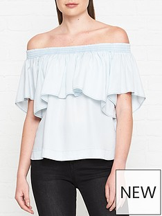 allsaints-sacha-tencel-bardot-top-light-blue