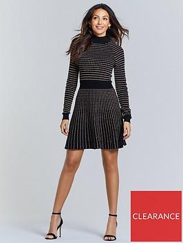 michelle-keegan-metallic-thread-knitted-dress-black-bronze