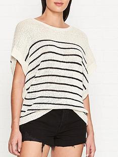allsaints-carova-breton-knitted-short-sleeve-top-creamblack