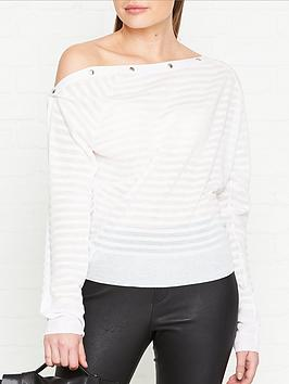 allsaints-elle-striped-button-detail-jumpernbsp--white