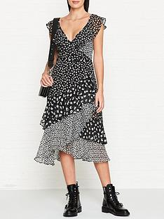 2d8c03dc032 AllSaints Kari Scatter Floral Print Wrap Dress - Black