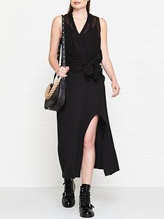 allsaints-kacie-drape-knot-dress-black