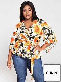 ax-paris-curve-frill-detail-wrap-blouse-orange