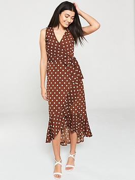ax-paris-polka-dot-wrap-dress-brown