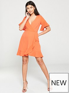 5bcba00fc AX Paris Ruffled Wrap Dress - Orange