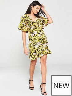 d0748a017496 AX Paris Leopard Print Wrap Dress - Yellow