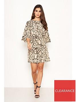 ax-paris-snake-print-knot-dress-grey