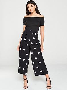 ax-paris-polka-dot-printed-jumpsuit-black
